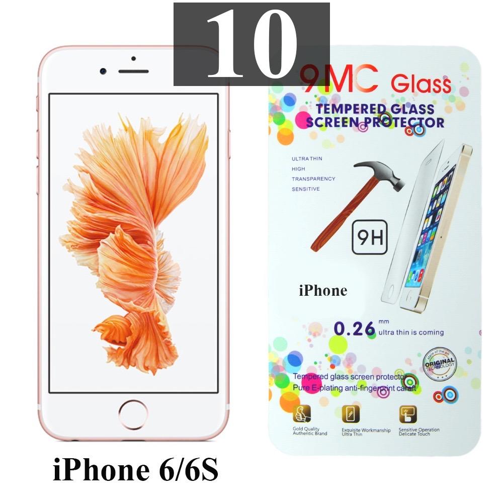 ฟิล์มกระจก iPhone 6/6s 9MC แผ่นละ 29 บาท (แพ็ค 10)