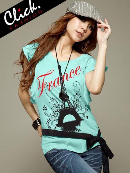 เสื้อยืดแฟชั่น แขนปีกนก ลาย France Eiffel สีเขียวมินท์