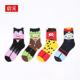 S329**พร้อมส่ง**(ปลีก+ส่ง) ถุงเท้าข้อยาว แฟชั่นเกาหลี วันฮาโลวีน มีหู มี 12 คู่ต่อแพ็ค เนื้อดี งานนำเข้า(Made in China)