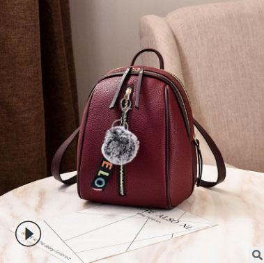 พร้อมส่ง กระเป๋าเป้ใบเล็ก ทรงหลังเต่า แฟชั่นสไตล์เกาหลี Yi-1001 สีม่วงมะเหมี่ยว 2 ใบ *แถมจี้ป๋อม