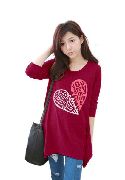 เสื้อยืดเกาหลีแขนยาว ปลายหยัก ผ้า Cotton Combed ลาย Broken Heart สีชมพูบานเย็น