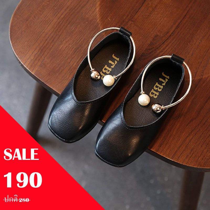 รองเท้าคัทชู puหนังนิ่ม แต่งด้วยกำไลรัดข้อเท้าประดับมุก สีดำ