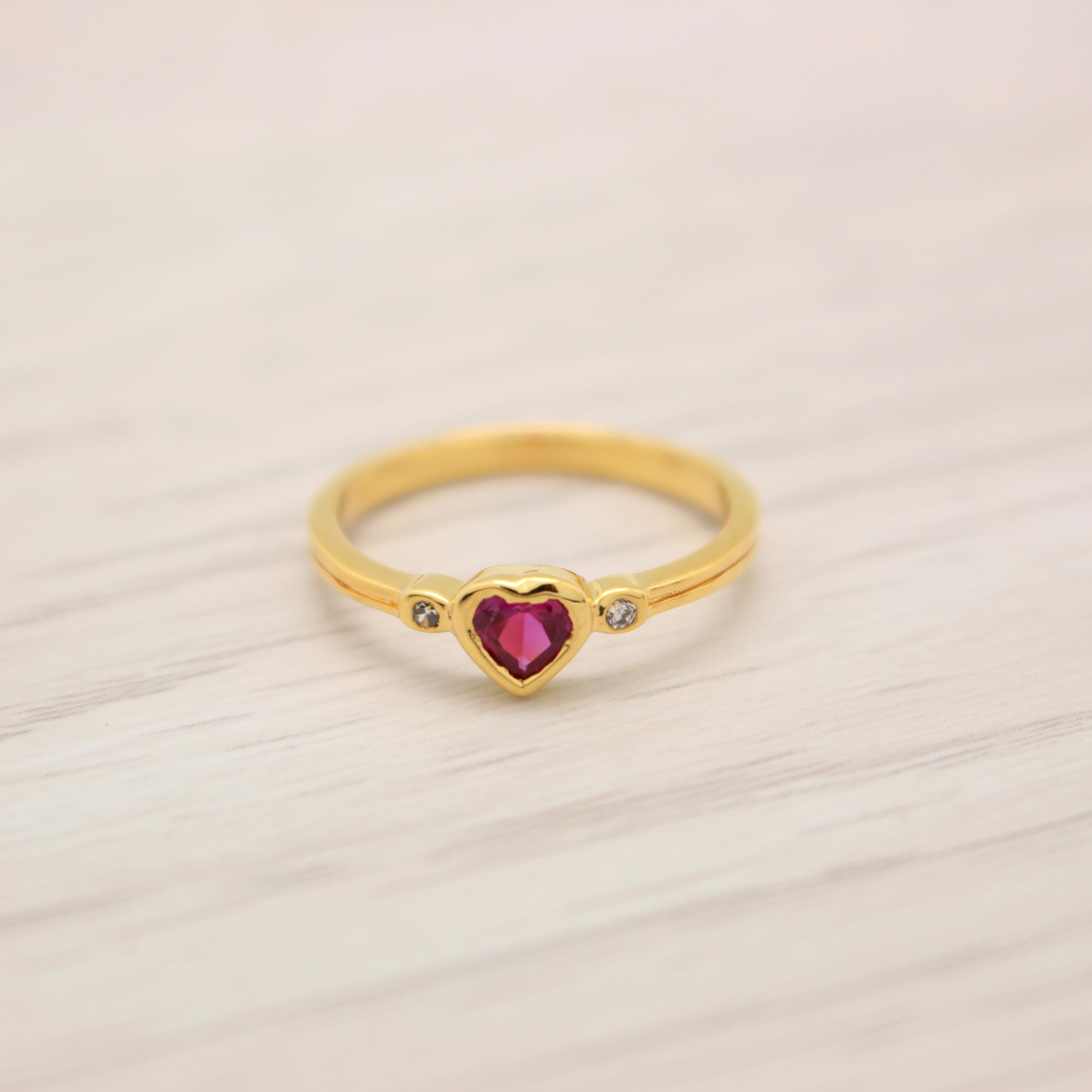 แหวนเพชรCZสีชมพูเข้ม หุ้มทองคำแท้ ไซส์ 52