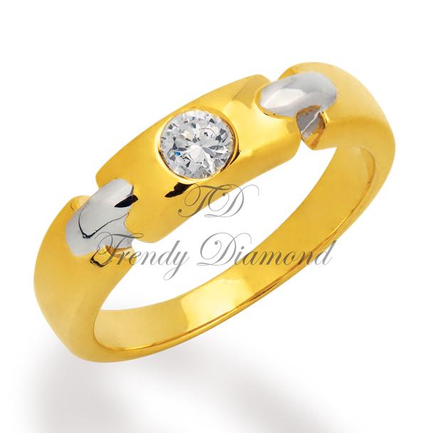 แหวนเลทหน้าเพชร สีทองและสีทองคำขาว