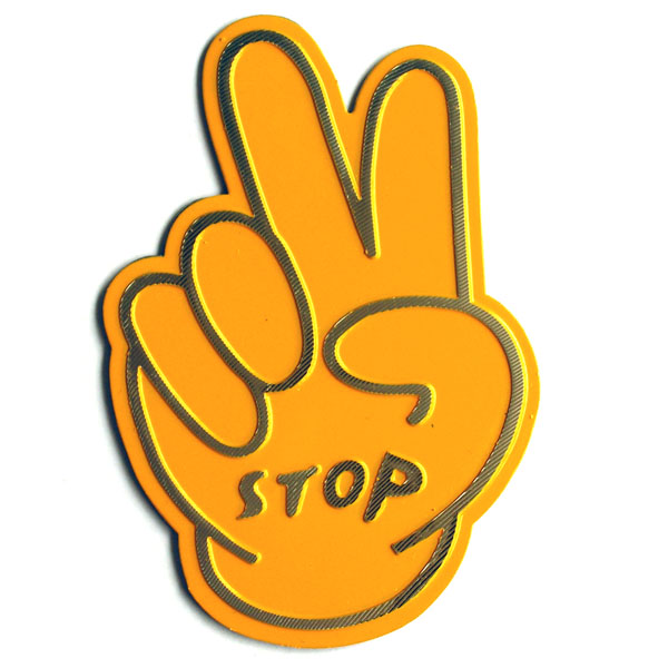 สติ๊กเกอร์ติดรถยนต์สะท้อนแสงสีเหลือง Stop 8.2x8.2 CM