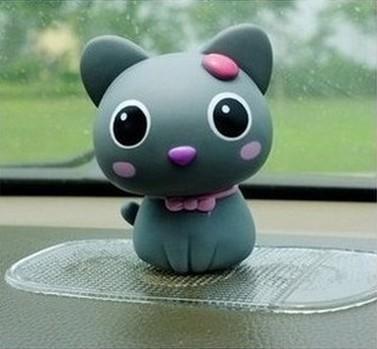 แมวน้อยน่ารัก หัวดุ๊กดิ๊กได้ สีเทา ขนาด 7x9CM (วัสดุไวนิล ไม่แตกหักเมื่อหล่น)