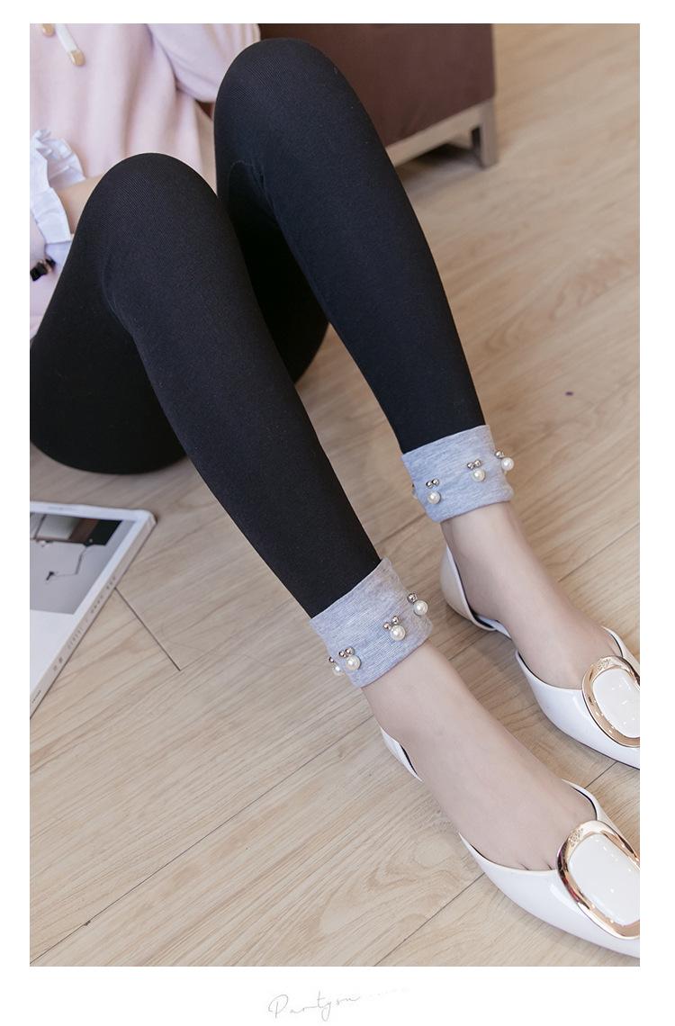 เลกกิ้งคนท้องขายาว สีดำ ปลายขาพับสีเทาแต่งมุก น่ารักมากๆ เอวปรับสายได้ค่ะ