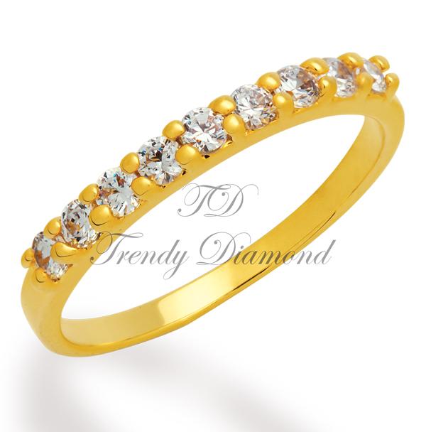 แหวนเพชรเตยครึ่งวง 9 เม็ด สีทอง