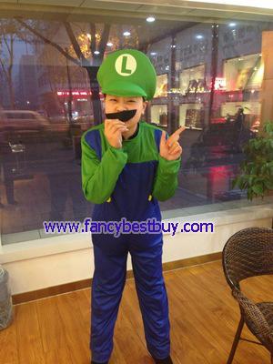 ชุดแฟนซีเด็ก Luigi สีเขียว จาก game Mario ขนาดฟรีไซด์ สำหรับความสูง 140-160 ซม.