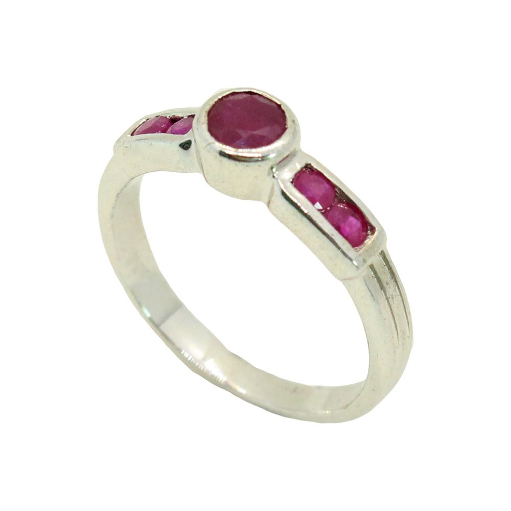 แหวนพลอยทับทิมแท้ หุ้มทองคำขาวแท้ ไซส์ 52