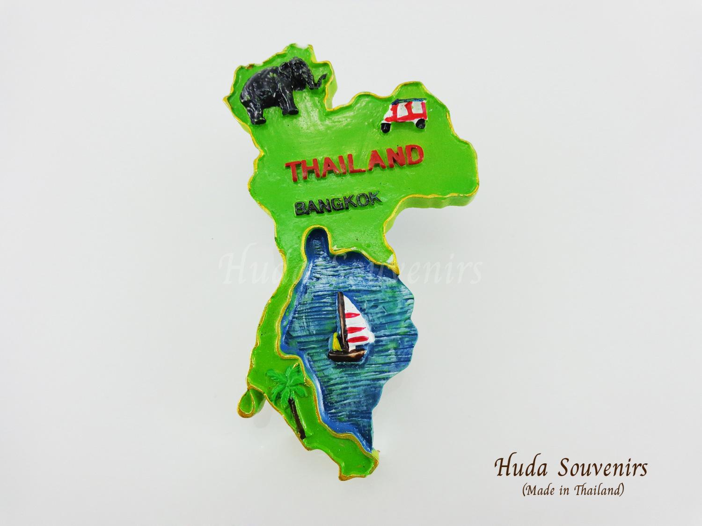 ของที่ระลึกไทย แม่เหล็กติดตู้เย็น ลวดลายเอกลักษณ์ไทย Bangkok Thailand รูปทรงแผนที่ประเทศไทย