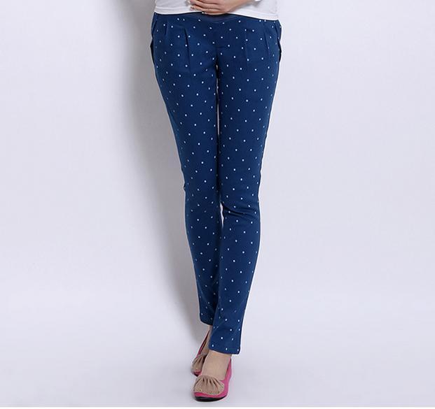 กางเกงคนท้องข้ายาว สีฟ้าลายจุดสีขาว ไซต์L