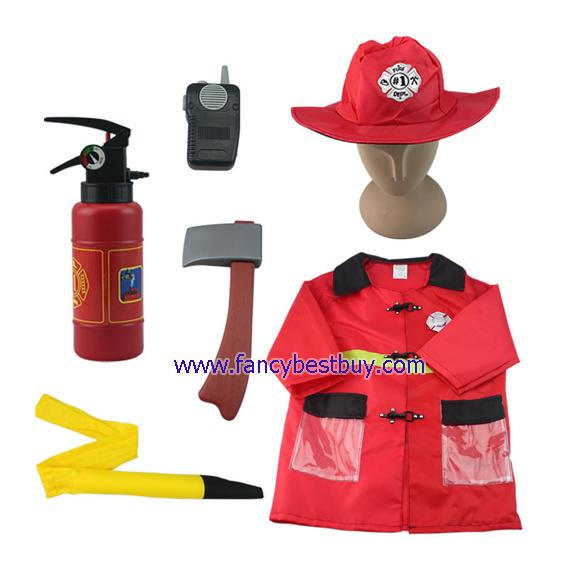ชุดแฟนซีนักดับเพลิงเด็ก Fireman ใส่ได้ทั้งเด็กชายหญิง (เสื้อ+หมวก+อุปกรณ์ 4 ชิ้น ใส่น้ำและใส่ถ่านได้) ฟรีไซด์ สำหรับเด็ก 90-125 ซม. อายุ 3-7ขวบ