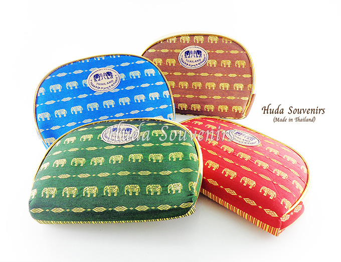 ของที่ระลึกไทย กระเป๋าผ้าลายไทย ขอบทอง (ขนาด: ขอบทอง L) ลายช้างเดิน หนึ่งโหลคละสี จำหน่ายยกโหล สินค้าพร้อมส่ง