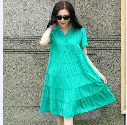 เดรสคลุมท้อง คอจีนสีเขียว กระโปรงต่อเป็นชั้น น่ารักมากๆค่ะ มีsize L ,XL , 2XL, 3XL