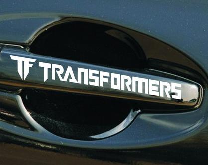สติ๊กเกอร์ติดมือจับรถยนต์ Transformer ตัวอักษรขาว 12x2 CM (1Pack/4 ชิ้น)