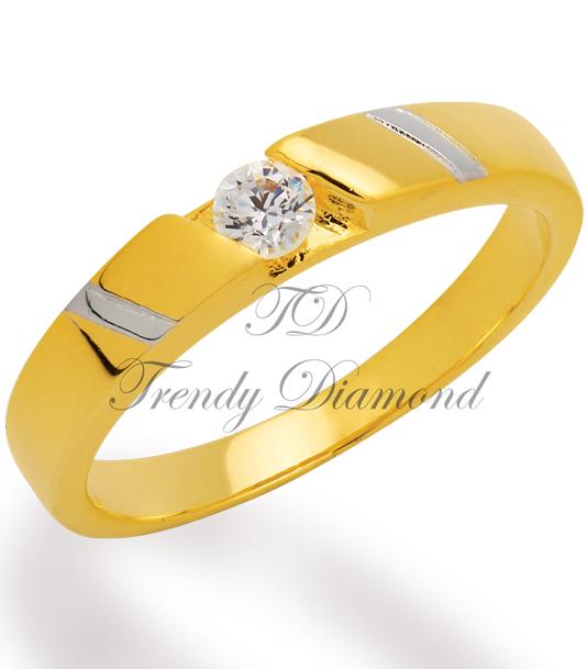 แหวนเพชรฝังหนีบเม็ดเดี่ยว สีทองและทองคำขาว