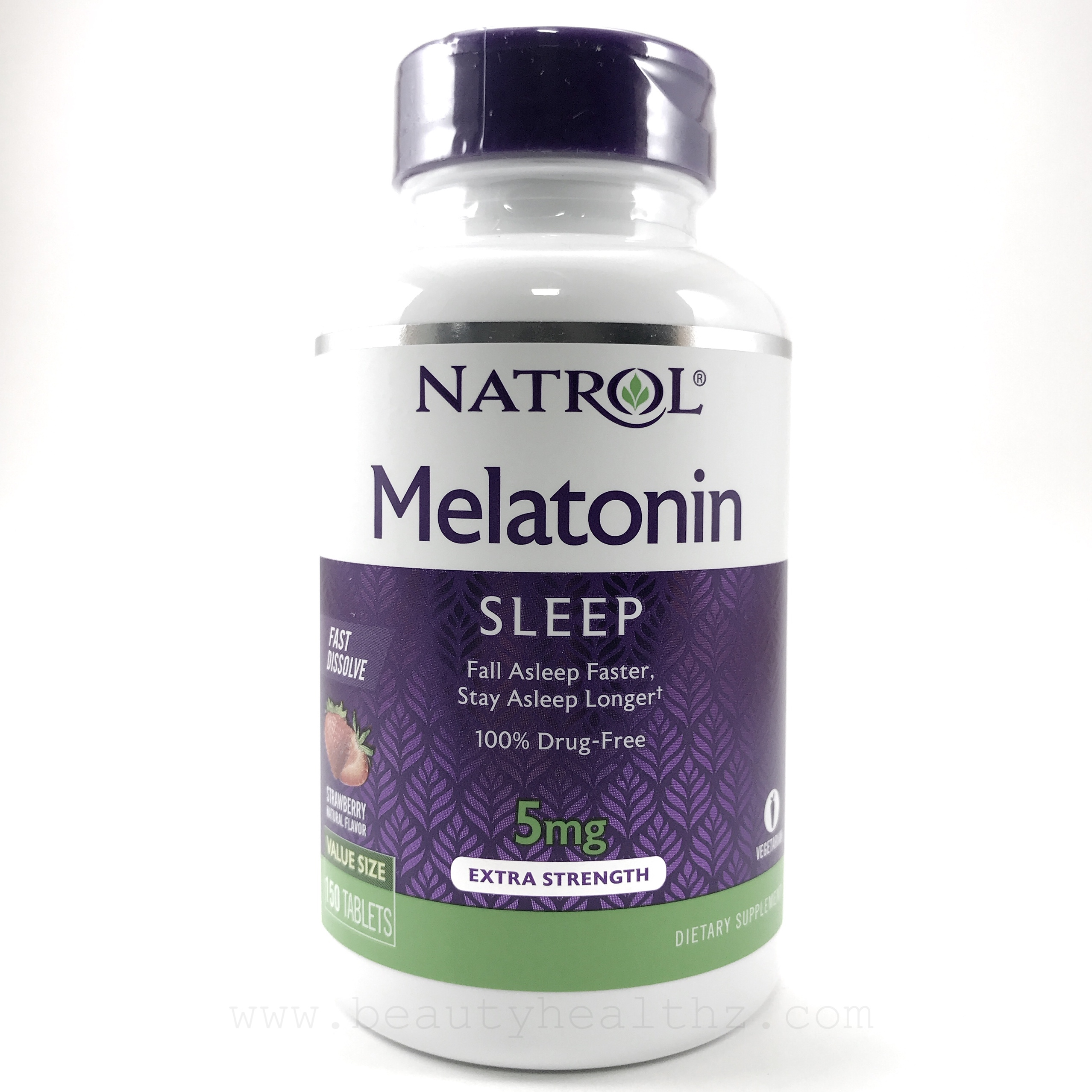 Natrol, Melatonin Fast Dissolve, Natural Strawberry Flavor, 5 mg, 150 Tablets