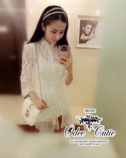 Odee Cutie เสื้อคลุมผ้าลูกไม้ซีทรูสีขาว ลายสวย