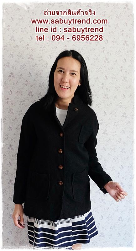 ca-2558 เสื้อโค้ทกันหนาวผ้าวูลสีดำ รอบอก34